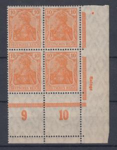 Dt. Reich Germania Mi.-Nr. 141 rechter Eckrand-4er-Block Unterrand-Leerfeldern