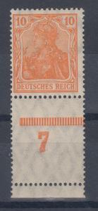 Dt. Reich Germania Mi.-Nr. 141 mit Unterrand-Leerfeld 7 **