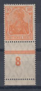 Dt. Reich Germania Mi.-Nr. 141 mit Unterrand-Leerfeld 8 **