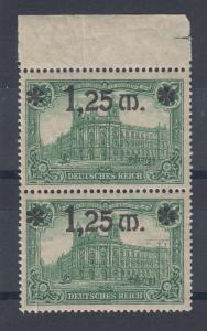 Dt. Reich 1,25 Mark Mi.-Nr. 116 senkrechtes Paar mit Papier-Qutschfalte **