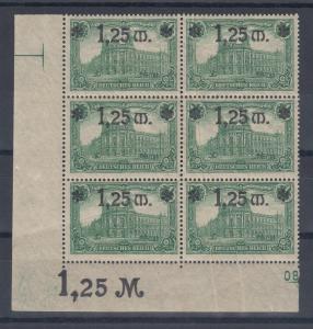 Dt. Reich 1,25 Mark Mi.-Nr. 116  6er-Block mit mehreren Papier-Qutschfalten */**