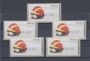 Portugal ATM Feuerwehr 2008 Druck Amiel Mi.-Nr 62.2 , Satz 30-50-52-61-75 **