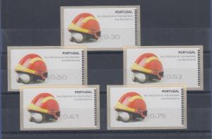 Portugal ATM Feuerwehr 2008 Druck SMD Mi.-Nr 62.1 , Satz 30-50-52-61-75 **