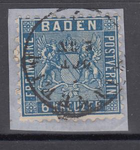 Altdeutschland Baden 6 Kreuzer preussischblau Mi.-Nr 14b  gestempelt