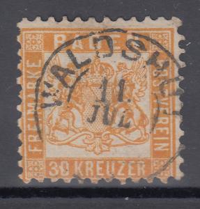 Altdeutschland Baden 30 Kreuzer gelborange Mi.-Nr 22a  gestempelt WALDSHUT