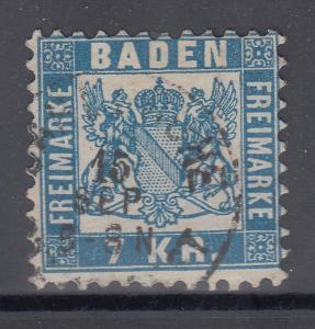 Altdeutschland Baden 7 Kr. blau Mi.-Nr. 25a  gestempelt in Carlsruhe