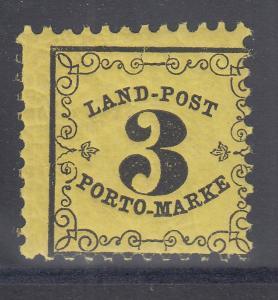 Altdeutschland Baden Portomarke 3 Kr. dickeres Papier Mi.-Nr. 3y postfrisch **