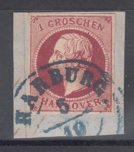 Altdeutschland Hannover Mi.-Nr. 14 d I  vollrandig auf Briefstück, gepr. Bühler