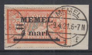 Memelgebiet  Mi.-Nr. 31x  Plattenfehler Ia  gestempelt auf Briefstück, gpr. BPP