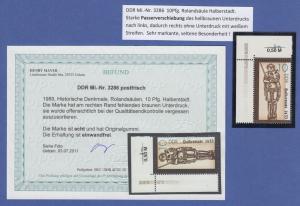 DDR 1989, Rolandsäulen, Mi.-Nr. 3286 ** mit Passerverschiebung, Fotobefund BPP