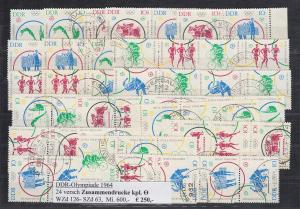 DDR Olympische Spiele Tokyo 1964 Mi.-Nr. 1039-1044, 24 ZSD kpl. Garnitur echt O