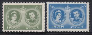 Persien / Iran 1960 Hochzeit Schah Pahlavi mit Farah Diba, Mi.-Nr. 1085-86 **
