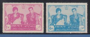 Persien / Iran 1961 Reza Schah Pahlavi, Farah Diba, Prinz Cyrus  Nr. 1099-1100