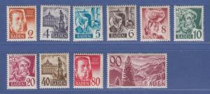 Französische Zone, Baden Freimarken Mi.-Nr. 28-37 Serie kpl. postfrisch **