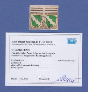Französische Zone Wappen Mi.-Nr. 5 Oberrand-Paar gestempelt , gepr. Schlegel