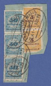 Deutsches Reich Inflation Mi.-Nr. 330 mehrfach auf Briefstück , BP-O, gepr.