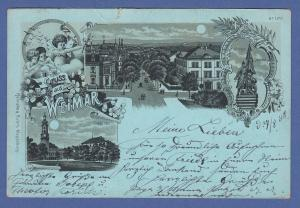 AK Thüringen Weimar, 3 Ansichten mit Mondschein, gelaufen 1898