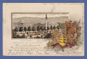 AK Stuttgart Schloßplatz mit neuem Schloß , Wappen.   gel. 1900
