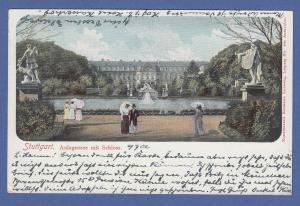 AK Stuttgart Anlagensee mit Schloss,  gel. 1902