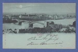 AK Koblenz, Rheinbrücke, Deutsches Eck,    gel. 1898