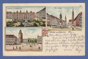 AK Gruss aus Görlitz, 3 Ansichten, gelaufen 1901