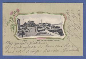 AK Dresden Blick von der Brühlschen Terrasse, gelaufen 1902