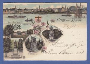 AK Gruß aus Bonn,  5 Ansichten, gelaufen 1898