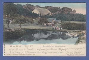 AK Jonsdorf Schweizerthal mit Mühlsteinbrüchen, gelaufen 1903