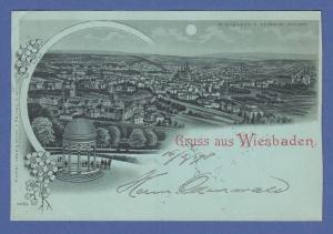 AK Wiesbaden v. Neroberg gesehen, Mondschein, gelaufen 1898