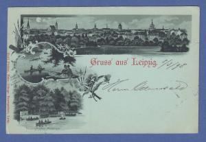 AK Gruss aus Leipzig, 3 Ansichten, Mondschein, gelaufen 1898