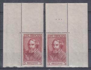 Französische Zone 1946 , 5 Mark  Heinrich Heine Mi.-Nr. 13 Bogenecken **
