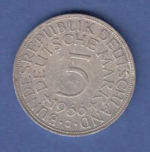 Bundesrepublik Kursmünze 5 Mark Silber-Adler 1966 J