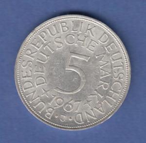Bundesrepublik Kursmünze 5 Mark Silber-Adler 1967 J