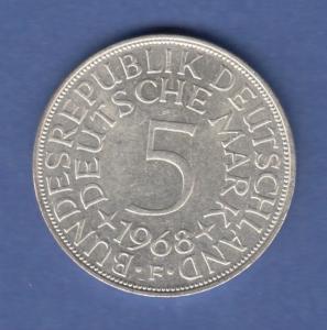 Bundesrepublik Kursmünze 5 Mark Silber-Adler 1968 F