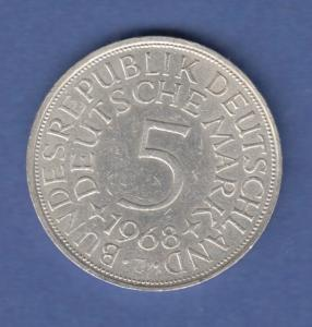 Bundesrepublik Kursmünze 5 Mark Silber-Adler 1968 J