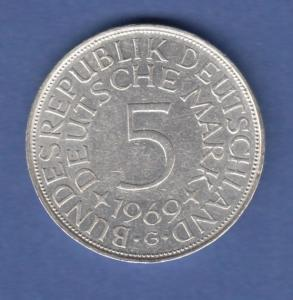 Bundesrepublik Kursmünze 5 Mark Silber-Adler 1969 G