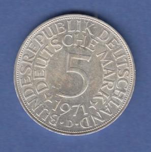 Bundesrepublik Kursmünze 5 Mark Silber-Adler 1971 D