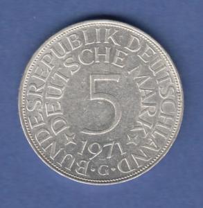 Bundesrepublik Kursmünze 5 Mark Silber-Adler 1971 G
