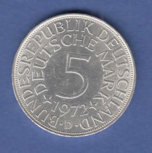 Bundesrepublik Kursmünze 5 Mark Silber-Adler 1972 D