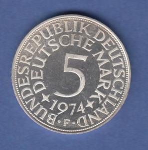 Bundesrepublik Kursmünze 5 Mark Silber-Adler 1974 F