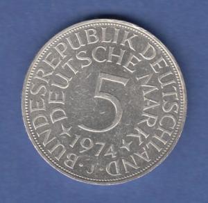 Bundesrepublik Kursmünze 5 Mark Silber-Adler 1974 J
