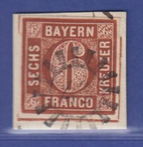 Altdeutschland Bayern Mi-Nr. 4 II auf Briefstück mit GMR 46 Dachau