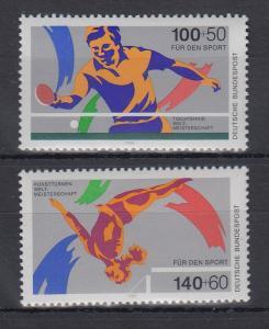 Bundesrepublik 1989 Sporthilfe Tischtennis-u. Kunstturnen  Mi.-Nr. 1408-1409 **