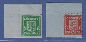 Dt. Besetzung 2.WK, Guernsey Mi.-Nr. 4 und 5 Eckrandstücke oben links **
