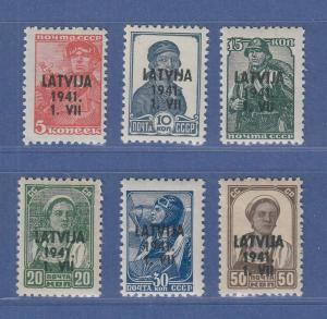 Dt. Besetzung 2.WK, Lettland Freimarken Mi.-Nr. 1-6 Satz kpl. **