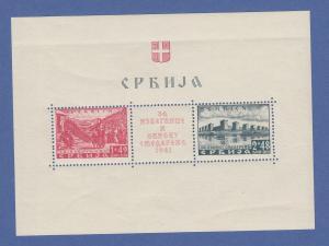 Dt. Besetzung 2.WK Serbien Semendria-Hilfe Mi-Nr. Block 1 mit Plattenfehler I **