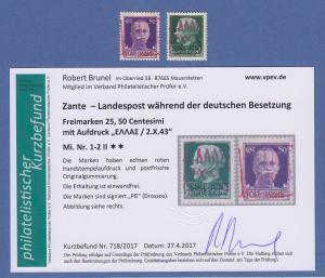 Dt. Besetzung 2.WK  Zante Mi.-Nr. 1-2 Aufdruck rot ** mit Befund Brunel