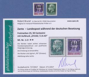 Dt. Besetzung 2.WK  Zante Mi.-Nr. 1-2 Aufdruck schwarz ** mit Befund Brunel