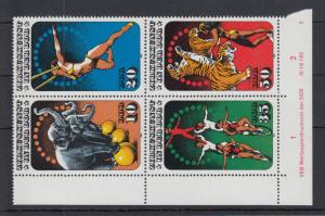 DDR 1985 Zirkus Mi.-Nr. 2983-86 Eckrand-Viererblock u.l. mit Druckvermerk **