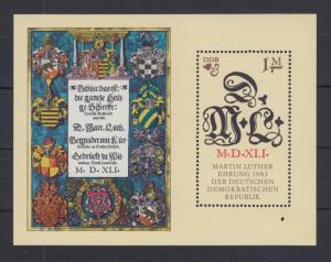 DDR 1983 Blockausgabe 500. Geb. von Martin Luther  Mi.-Nr. Block 73 **